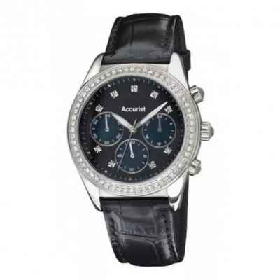 There's still time to find that perfect gift.  Accurist Black Crystalised MOP Leather Ladies Watch #accuristwatches #ladieswatches #leatherwatches #giftsforladies #edmondsjewellerscoventry