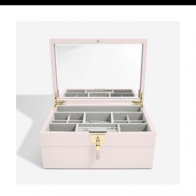 STACKERS Classic Pink Leather Set Of 2 Jewellery Box #stackers #stackersjewellerybox #jewellerybox #jewelleryboxes #giftsforher #edmondsjewellerscoventry