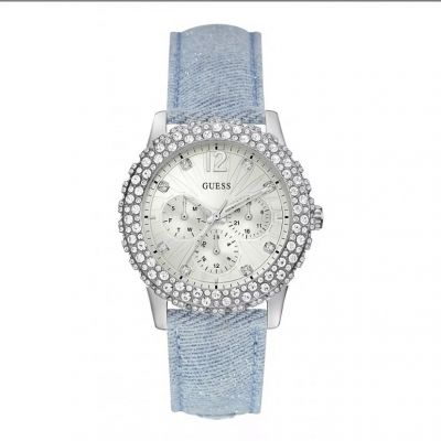 Sparkle with a Guess Silver Plated Stainless Steel Ladies Wristwatch. Product Code:- WO336L7. #guess #guesswatches #watches #ladieswatches #giftsforher #edmondsjewellerscoventry